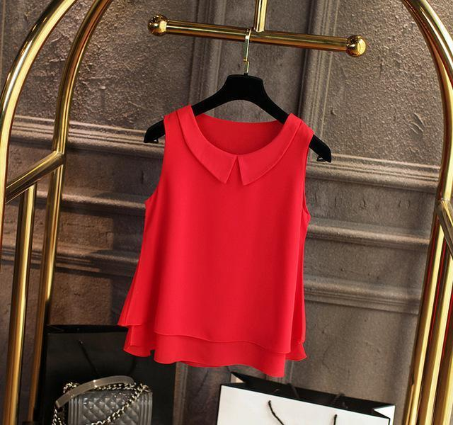 Brand Female Chiffon Shirts Women Summer Casual Top Plus Size S-4Xl Loose Sleeveless Thin-Blouses & Shirts-little girl dresses Store-Big red-S-EpicWorldStore.com
