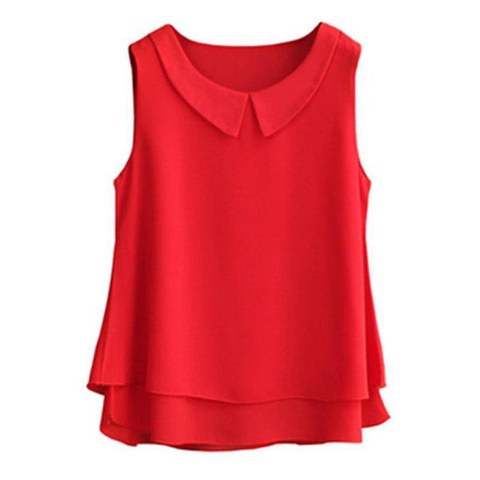 Brand Female Chiffon Shirts Women Summer Casual Top Plus Size S-4Xl Loose Sleeveless Thin-Blouses & Shirts-little girl dresses Store-Black-S-EpicWorldStore.com