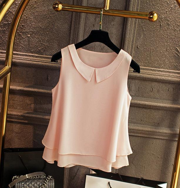 Brand Female Chiffon Shirts Women Summer Casual Top Plus Size S-4Xl Loose Sleeveless Thin-Blouses & Shirts-little girl dresses Store-Light pink-S-EpicWorldStore.com