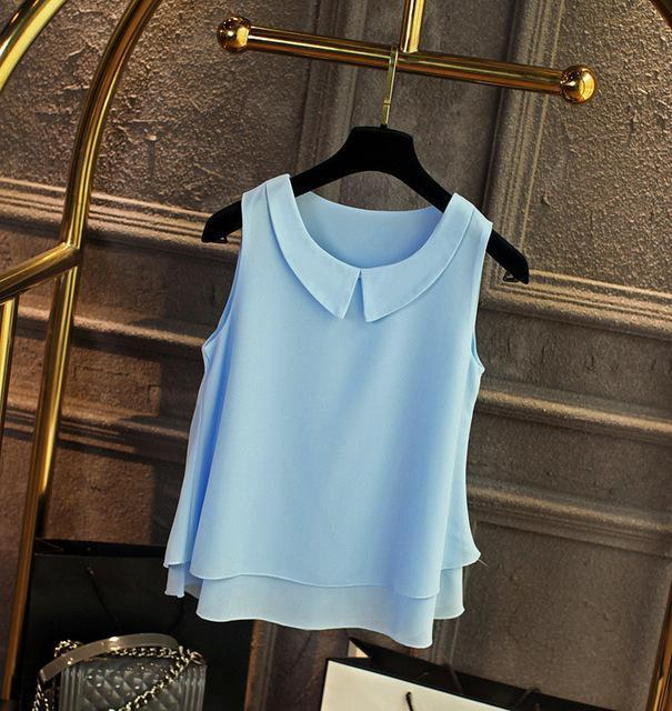 Brand Female Chiffon Shirts Women Summer Casual Top Plus Size S-4Xl Loose Sleeveless Thin-Blouses & Shirts-little girl dresses Store-Sky blue-S-EpicWorldStore.com