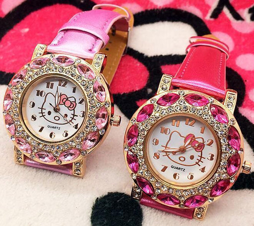 Brand Hello Kitty Quartz Watch Children Girl Women Leather Crystal Wrist Watch Kids-Children's Watches-Lucky Gift Watch Store-Pink-EpicWorldStore.com