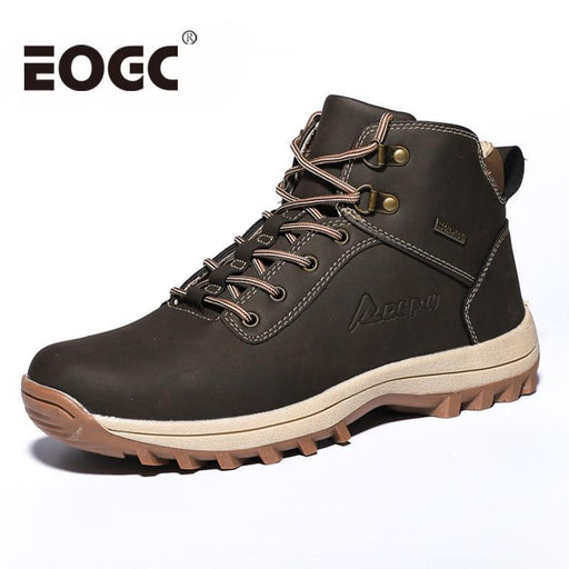 Brand Super Warm Men Boots Winter Leather Boots Waterproof Rubber Snow Boots Work Safety Shoes Ankle-Work & Safety Boots-EOGC Footwear Store-Black With Fur-7-EpicWorldStore.com