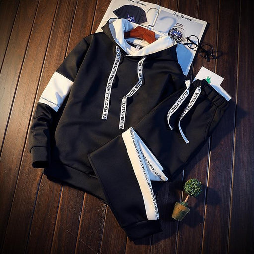 Brand Tracksuit Men Quality Spring Men Sporting Hooded Hoodie + Pants Two Piece Sweat Set Jogger-Men's Sets-First Blood Store-Black-M-EpicWorldStore.com