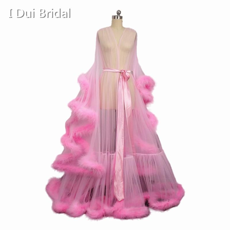 06b0a45184 Bridal Boudoir Robe Pink Feather Bridal Sheer Robe Tulle Illusion Long  Birthday Feather Robe