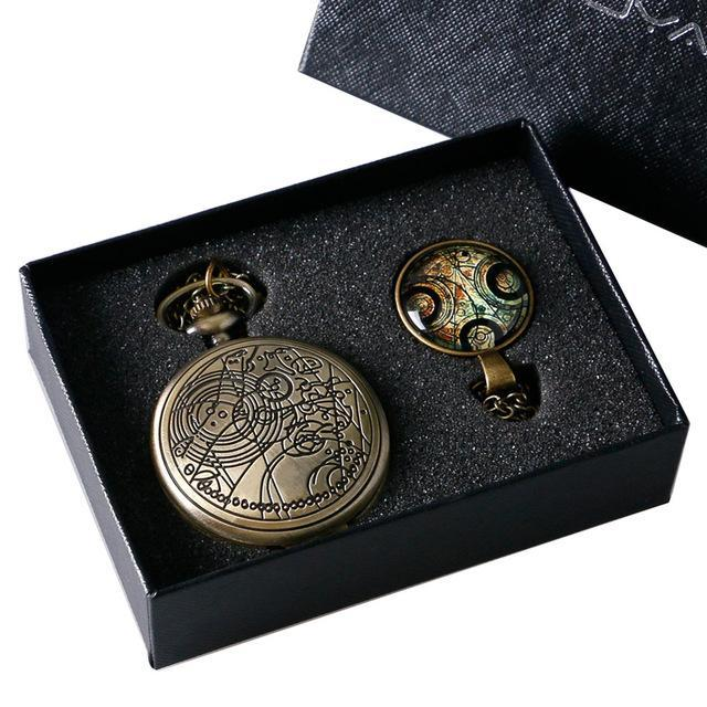 Bronze Color Doctor Who Theme Antique Pocket Watch With Dr. Who Symbols Design Glass Dome Pendant-Pocket & Fob Watches-Guangzhou Shenxuan Trade Co.,Ltd.-A-EpicWorldStore.com