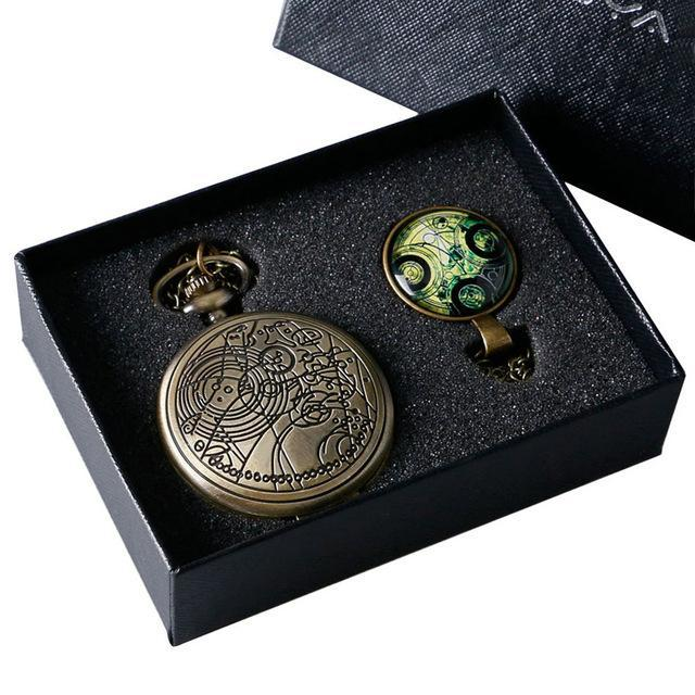 Bronze Color Doctor Who Theme Antique Pocket Watch With Dr. Who Symbols Design Glass Dome Pendant-Pocket & Fob Watches-Guangzhou Shenxuan Trade Co.,Ltd.-C-EpicWorldStore.com