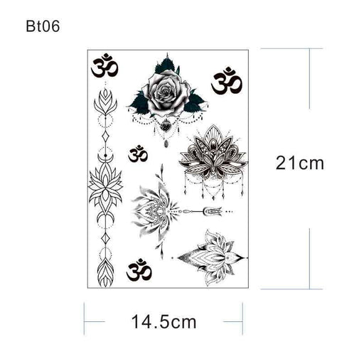Bt06 1 Piece Under Breast Sternum Temporary Tattoo With Lotus,Um, Yoga Pattern Body Art-Tattoo & Body Art-HimalayaStore-BT02-EpicWorldStore.com