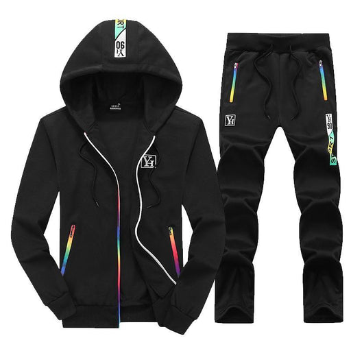 Bumpybeast Sporting Suit Mens Hoodie Zipper Cardigan Pants Suits Tracksuit Two Piece Set Men-Men's Sets-bumpybeast shoppe Store-818 black-M-EpicWorldStore.com