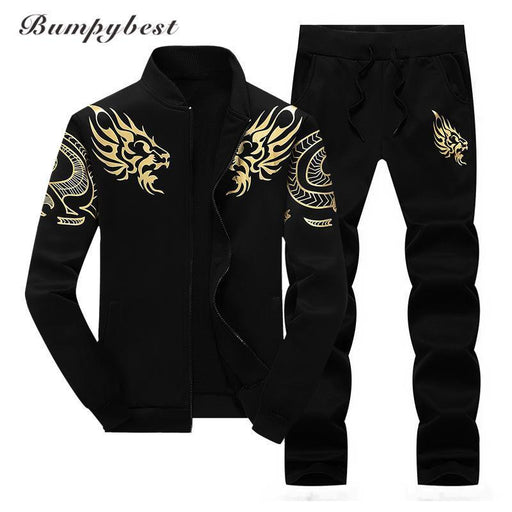 Bumpybeast Zipper Jacket+Pant Polo Set Casual Men Sporting Suit Hoodie Mens Tracksuit-Men's Sets-bumpybeast shoppe Store-Black-M-EpicWorldStore.com