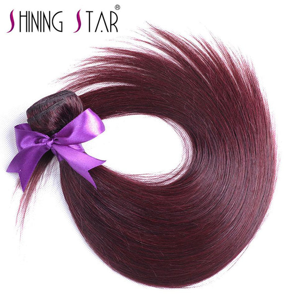 Burgundy Brazilian Hair Straight Bundles Human Hair Weave Red Hair