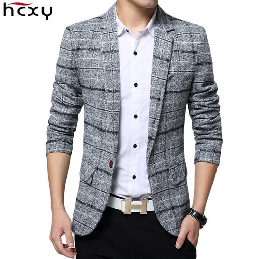 Business Mens Blazer Casual Blazers Men Lattice Formal Jacket Popular Design Men Dress Suit-Suits & Blazers-HCXY Official Store-Navy blue-M-EpicWorldStore.com