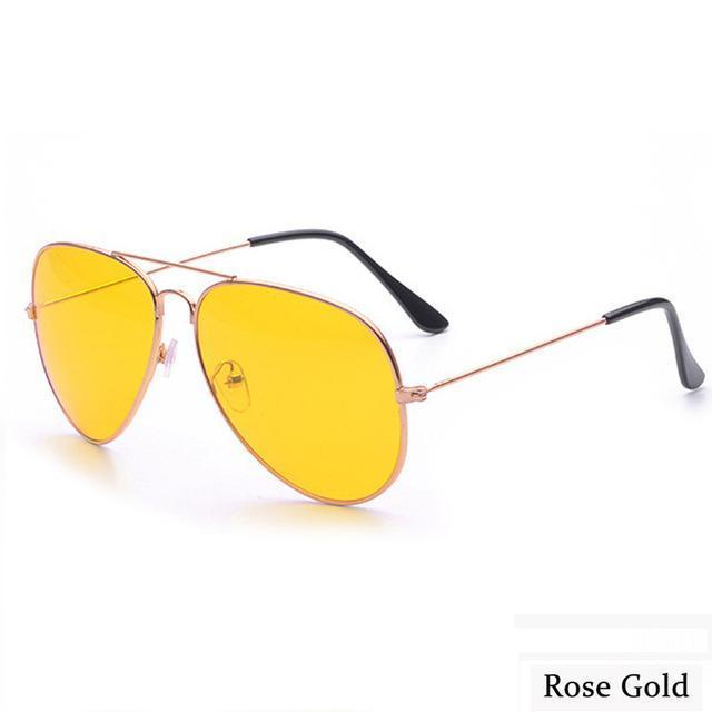 Canchange Polarized Glasses Mens Sunglasses Car Drivers Night Vision Goggles Anti-Glare Sun-Accessories-Voice of dreams Store-Rose Gold W yellow-EpicWorldStore.com