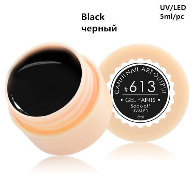 Canni Gel Lacquer 5Ml 141 Pure Colors Uv Gel Manicure Diy French Nail Art Tips Gel Polish Design-Nails & Tools-canni-v6 Store-613 Black Color-EpicWorldStore.com
