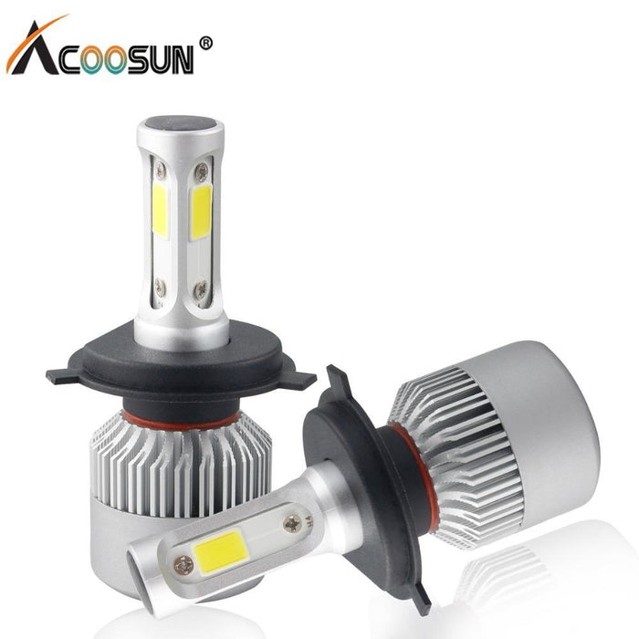 Car Light S2 H4 H7 H1 Cob Led Headlight Bulbs H11 H13 12V 9005 9006 H3 9004  9007 9012 72W 8000Lm Car