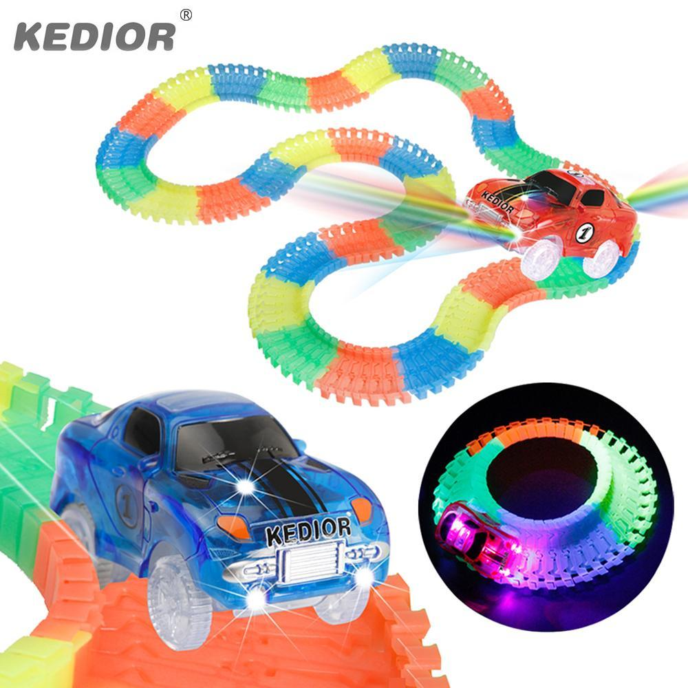 Car Race Track Hot Wheels Bend Flex Glow In The Dark Diy Assembly Toy Children Plastic Race Track