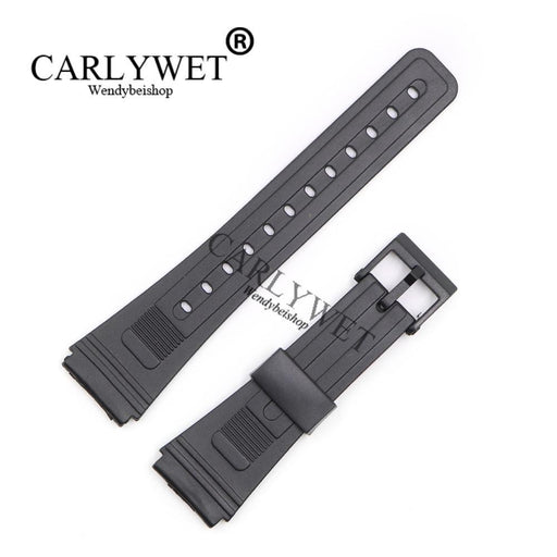 Carlywet 20Mm Men Lady Black Replacement Silicone Rubber Straight End Watch Band Strap Loop With-Watch Accessories-Wendybei Store-EpicWorldStore.com