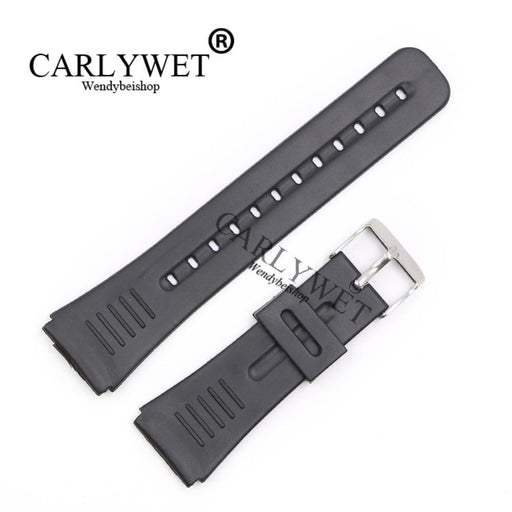 Carlywet 22Mm New Men Lady Black Replacement Silicone Rubber Straight End Watch Band Strap Silver-Watch Accessories-Wendybei Store-EpicWorldStore.com