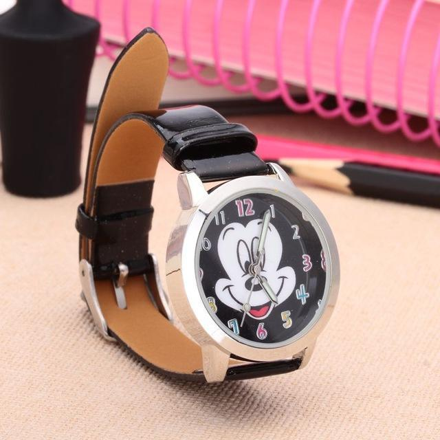 Cartoon Beautiful Girl Minnie Mouse Style Color Number Dial Children Students Girl'S-Lover's Watches-Lydia's Store-black-EpicWorldStore.com