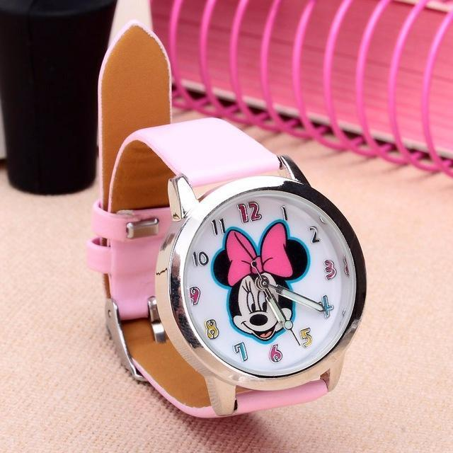Cartoon Beautiful Girl Minnie Mouse Style Color Number Dial Children Students Girl'S-Lover's Watches-Lydia's Store-pink-EpicWorldStore.com
