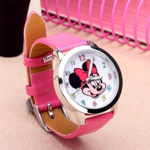 Cartoon Beautiful Girl Minnie Mouse Style Color Number Dial Children Students Girl'S-Lover's Watches-Lydia's Store-rose-EpicWorldStore.com
