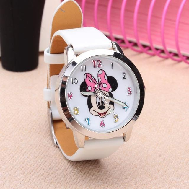 Cartoon Beautiful Girl Minnie Mouse Style Color Number Dial Children Students Girl'S-Lover's Watches-Lydia's Store-white-EpicWorldStore.com