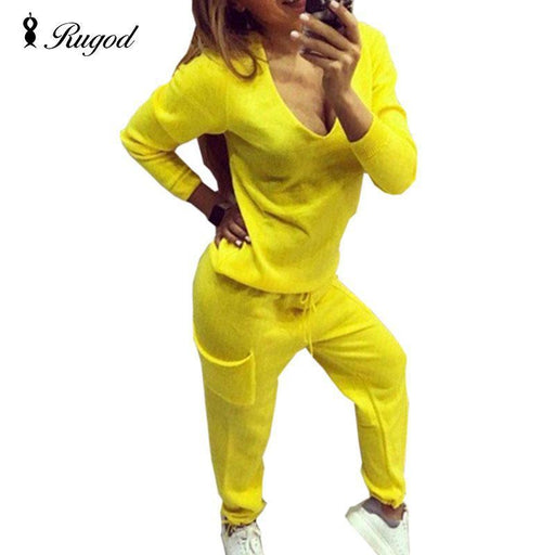 Casual Tracksuit Women 2 Pieces Set Knitted Pullover Sweaters Tops Deep V-Neck Long Sleeve-Jumpsuits-Drop Shipping & Wholesales-apricot-S-EpicWorldStore.com