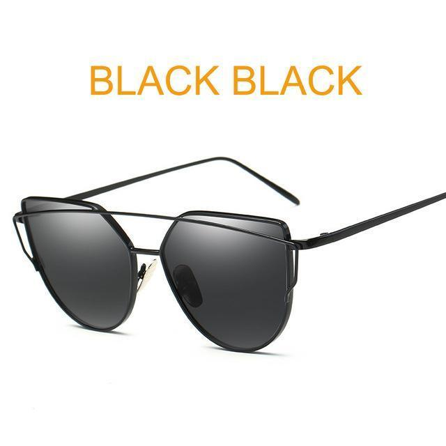 Cat Eye Vintage Brand Designer Rose Gold Mirror Sunglasses For Women Metal Reflective Flat Lens-Accessories-ProudDemon Official Store-6627 black black-EpicWorldStore.com