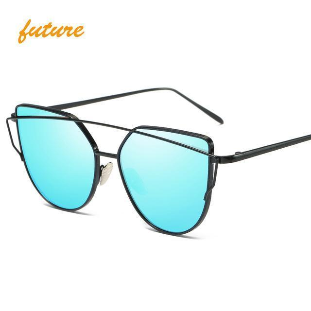Cat Eye Vintage Brand Designer Rose Gold Mirror Sunglasses For Women Metal Reflective Flat Lens-Accessories-ProudDemon Official Store-6627 black blue-EpicWorldStore.com