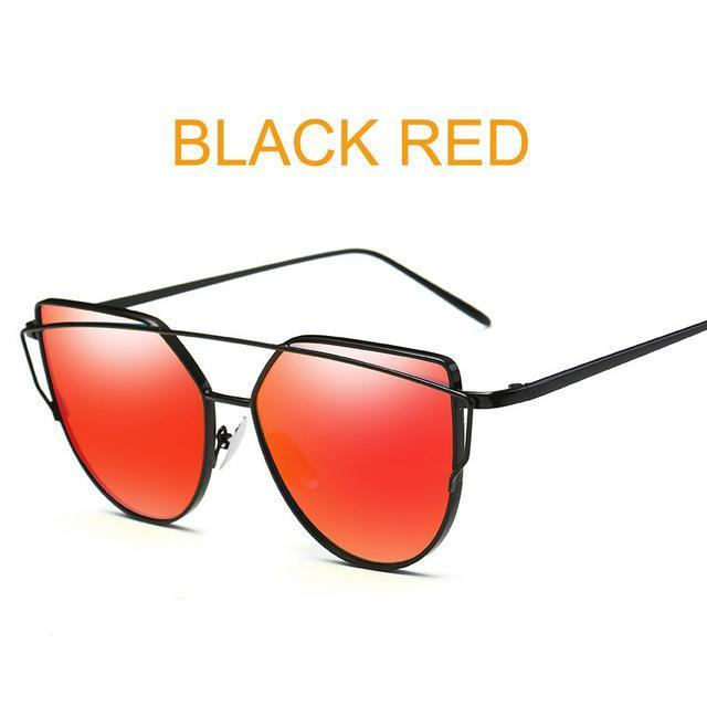 Cat Eye Vintage Brand Designer Rose Gold Mirror Sunglasses For Women Metal Reflective Flat Lens-Accessories-ProudDemon Official Store-6627 black red-EpicWorldStore.com