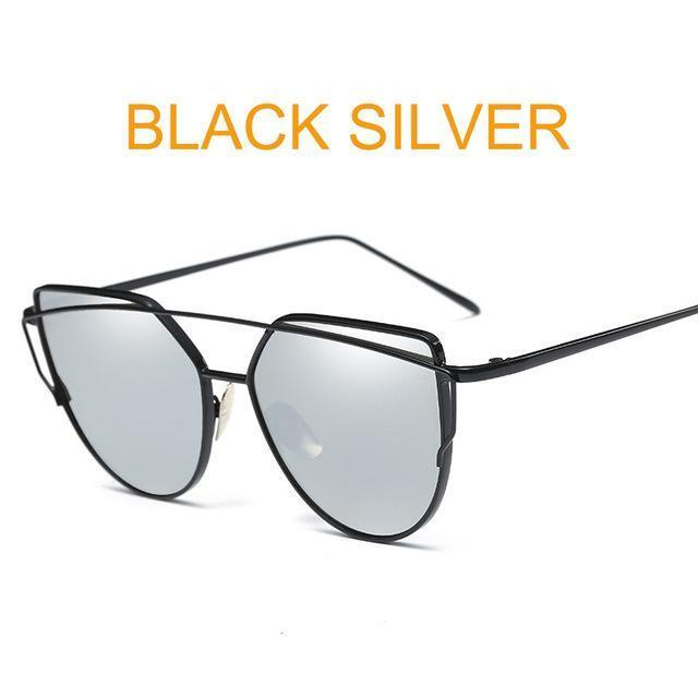 Cat Eye Vintage Brand Designer Rose Gold Mirror Sunglasses For Women Metal Reflective Flat Lens-Accessories-ProudDemon Official Store-6627 black silver-EpicWorldStore.com