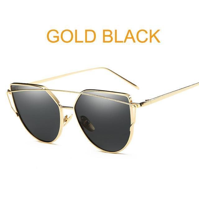 Cat Eye Vintage Brand Designer Rose Gold Mirror Sunglasses For Women Metal Reflective Flat Lens-Accessories-ProudDemon Official Store-6627 gold black-EpicWorldStore.com