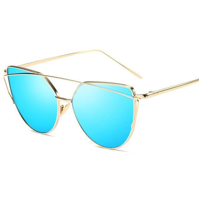 Cat Eye Vintage Brand Designer Rose Gold Mirror Sunglasses For Women Metal Reflective Flat Lens-Accessories-ProudDemon Official Store-6627 gold blue-EpicWorldStore.com