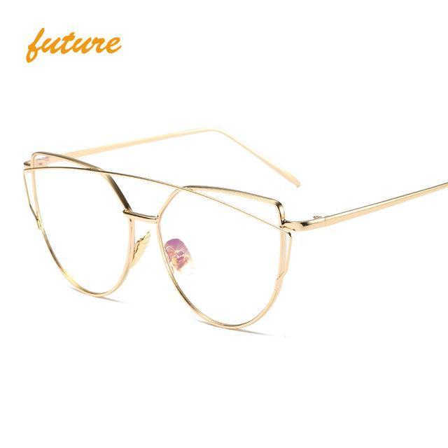 Cat Eye Vintage Brand Designer Rose Gold Mirror Sunglasses For Women Metal Reflective Flat Lens-Accessories-ProudDemon Official Store-6627 gold clear-EpicWorldStore.com