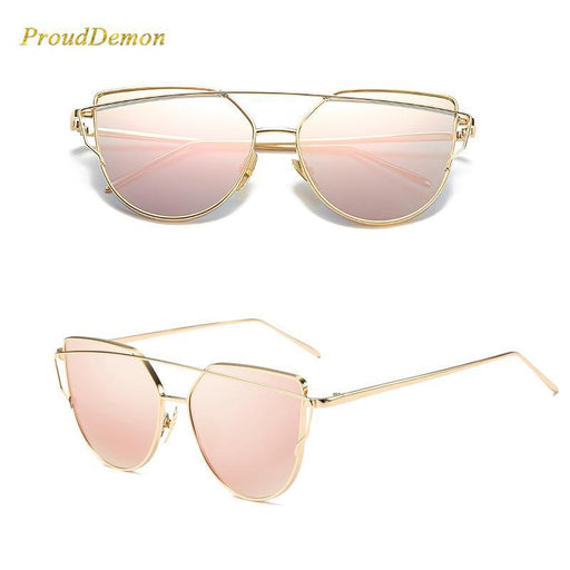 Cat Eye Vintage Brand Designer Rose Gold Mirror Sunglasses For Women Metal Reflective Flat Lens-Accessories-ProudDemon Official Store-6627 gold gold-EpicWorldStore.com