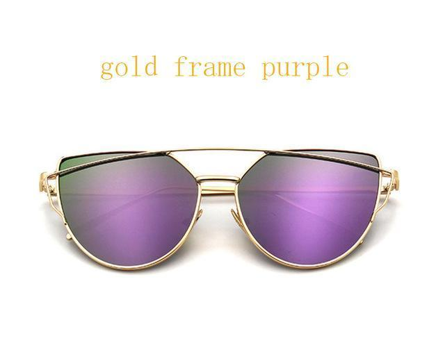 Cat Eye Vintage Brand Designer Rose Gold Mirror Sunglasses For Women Metal Reflective Flat Lens-Accessories-ProudDemon Official Store-6627 gold purple-EpicWorldStore.com