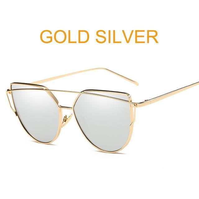 Cat Eye Vintage Brand Designer Rose Gold Mirror Sunglasses For Women Metal Reflective Flat Lens-Accessories-ProudDemon Official Store-6627 gold sliver-EpicWorldStore.com