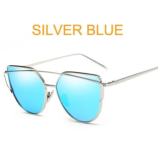 Cat Eye Vintage Brand Designer Rose Gold Mirror Sunglasses For Women Metal Reflective Flat Lens-Accessories-ProudDemon Official Store-6627 silver blue-EpicWorldStore.com