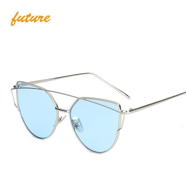 Cat Eye Vintage Brand Designer Rose Gold Mirror Sunglasses For Women Metal Reflective Flat Lens-Accessories-ProudDemon Official Store-6627 silver blue O-EpicWorldStore.com