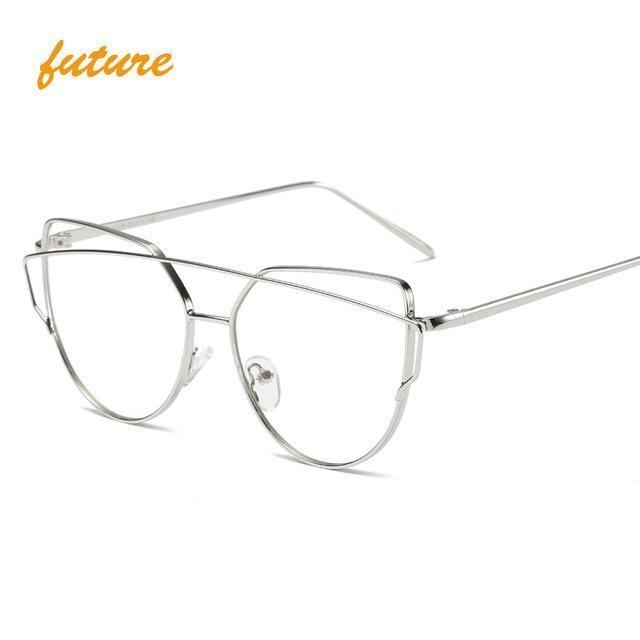 Cat Eye Vintage Brand Designer Rose Gold Mirror Sunglasses For Women Metal Reflective Flat Lens-Accessories-ProudDemon Official Store-6627 silver clear-EpicWorldStore.com