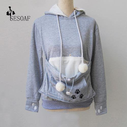 Cat Lovers Hoodie Kangaroo Dog Pet Paw Emboridery Autumn New Pullovers Cuddle Pouch-Hoodies & Sweatshirts-Shop916641 Store-gray-S-EpicWorldStore.com