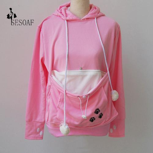 Cat Lovers Hoodie Kangaroo Dog Pet Paw Emboridery Autumn New Pullovers Cuddle Pouch-Hoodies & Sweatshirts-Shop916641 Store-Pink-S-EpicWorldStore.com