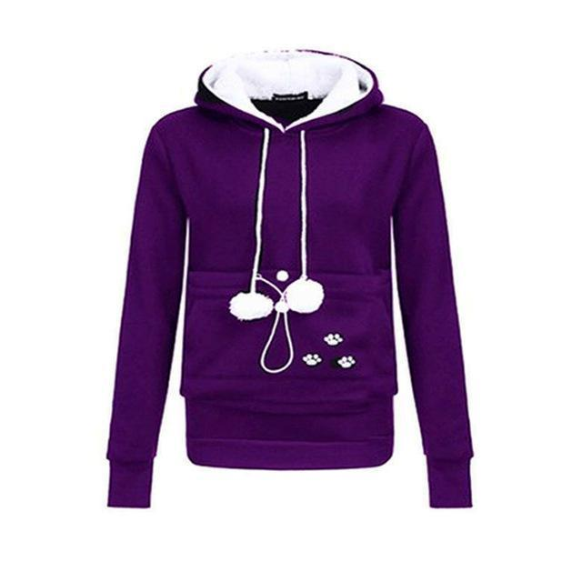 Cat Lovers Hoodie Kangaroo Dog Pet Paw Emboridery Autumn New Pullovers Cuddle Pouch-Hoodies & Sweatshirts-Shop916641 Store-purple-S-EpicWorldStore.com