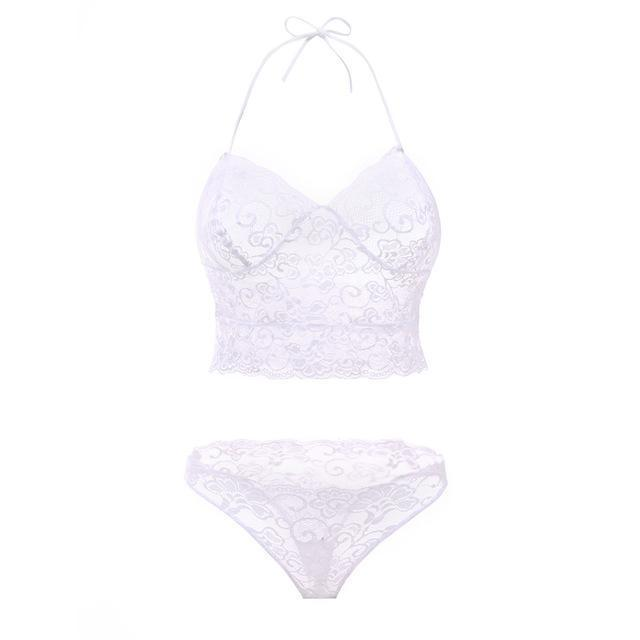 Cdjlfh Brand French Stylish T-Pants Romantic Transparent Temptation Lace Bra Set Young Women-Bra & Brief Sets-CDJLFH Online Store-White-S 1-EpicWorldStore.com