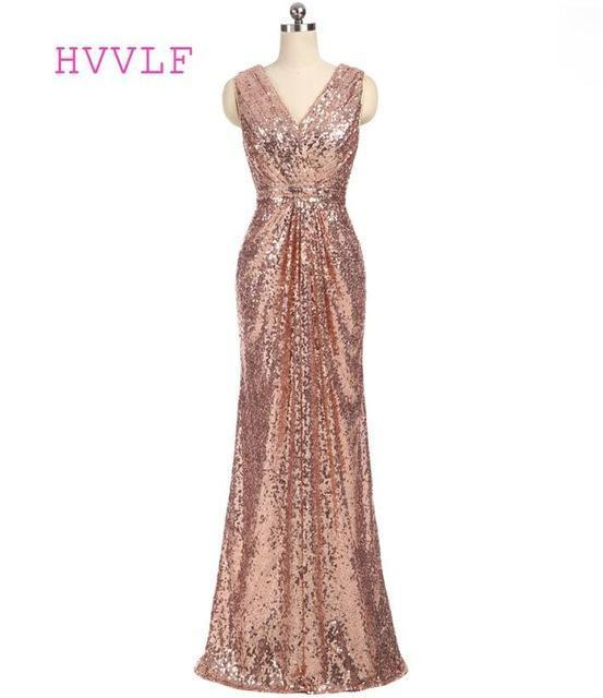 Champagne Cheap Bridesmaid Dresses Under 50 Mermaid Deep V Neck Floor Length Sequins Sparkle