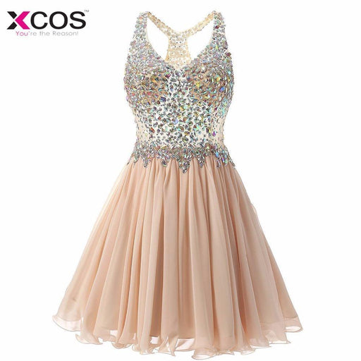 Champagne Cocktail Dress Cute Gilrs Vestidos Plus Size Stylish Homecoming Dresses Short Robe De-Cocktail Dresses-xcos Prom Dresses Store-Champagne-2-EpicWorldStore.com
