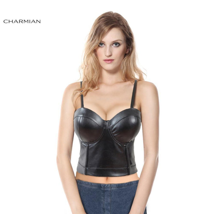 Charmian Womens Stylish Faux Leather Strap Bustier Racer Bustiers Top Leather Corsets And Bustier-Bustiers & Corsets-Charmian Official Store-S-EpicWorldStore.com