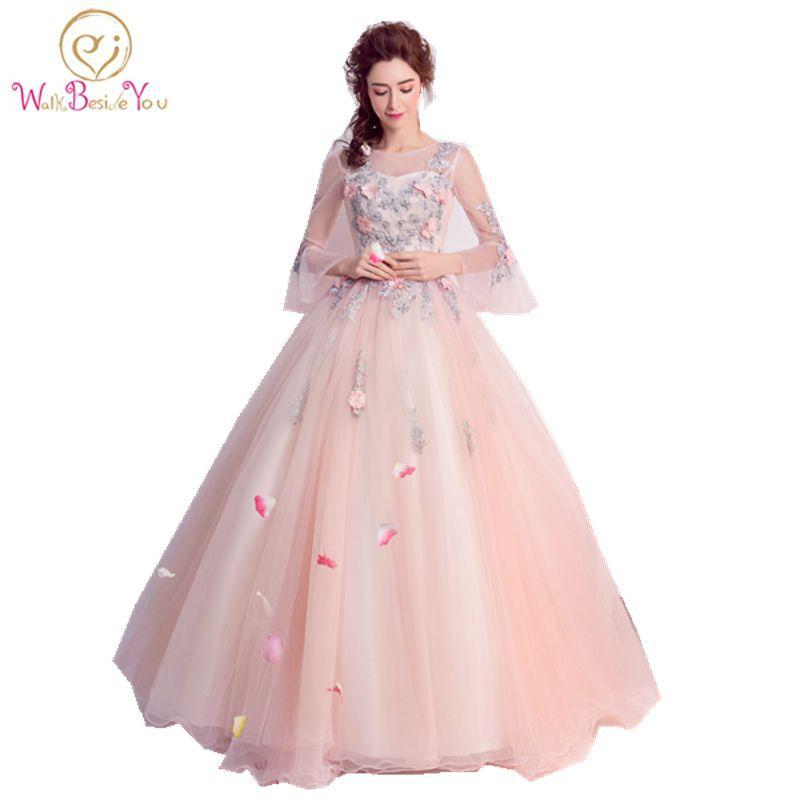e4b92bed201 Cheap Quinceanera Gowns Pink Long Sleeve Quinceanera Dresses Debutante  Vestido 15 Anos Ball Gown-Quinceanera