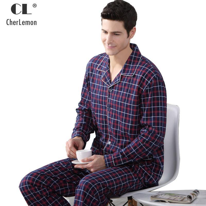 9898c1ae78 Cherlemon Autumn Men Pajama Sets Breathable Cotton Long-Sleeve Male Pyjamas  Sleepwear Plus Size-