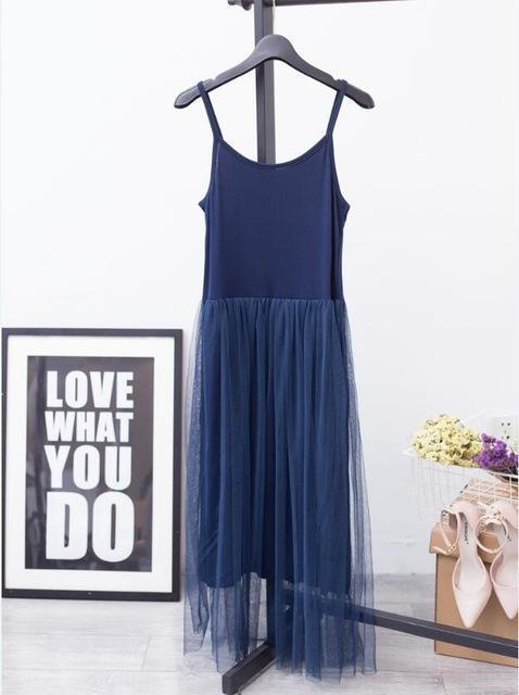 [Chicever] Stylish Off Shoulder Summer Women Dress Female Loose Spaghetti Strap Mesh Ladies-Dresses-CHICEVER Official Store-blue-EpicWorldStore.com
