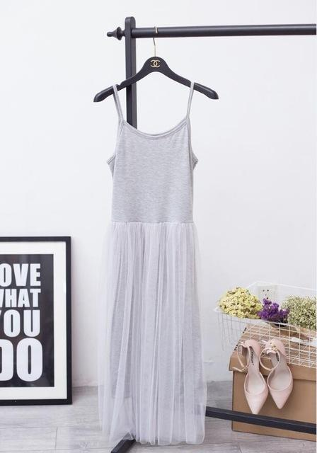 [Chicever] Stylish Off Shoulder Summer Women Dress Female Loose Spaghetti Strap Mesh Ladies-Dresses-CHICEVER Official Store-gray-EpicWorldStore.com
